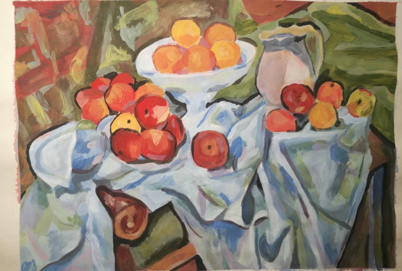 Mrtva priroda sa jabukama i pomorandžama